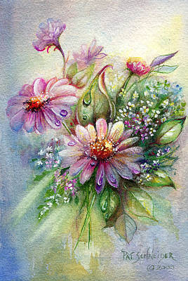 Poster featuring the painting Dewdrop Daisies by Patricia Schneider Mitchell