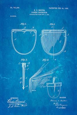 Dexter Pocket Protector Patent Art 1903 Blueprint Poster by Ian Monk