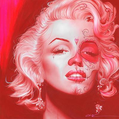 Marilyn Monroe - ' Dia De Los Monroe ' Poster by Christian Chapman Art