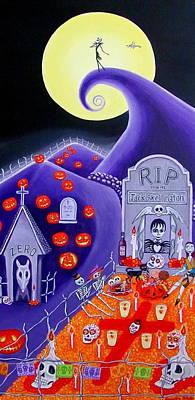 Dia De Los Muertos Jack Skellington Poster by Evangelina Portillo