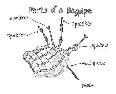 Diagram Entitled Parts Of A Bagpipe Poster by Ken Krimstein