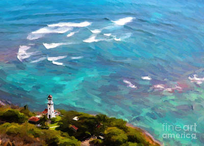 Diamond Head Lighthouse View Poster by Jon Burch Photography
