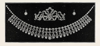 Diamond Tiara, Necklace, And Ear Rings Presented Poster by English School