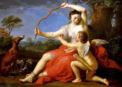 Poster featuring the digital art Diana And Cupid by Pompeo Batoni