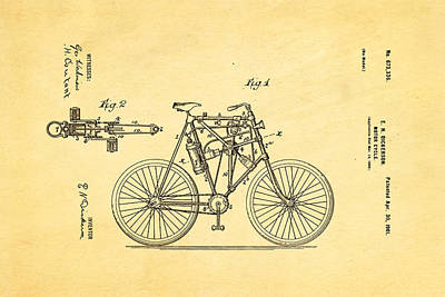 Dickerson Motor Cycle Patent Art 1901 Poster by Ian Monk