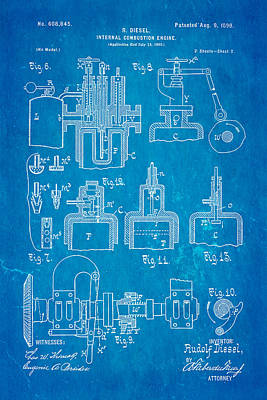 Diesel Internal Combustion Engine Patent Art 1898 Blueprint Poster by Ian Monk
