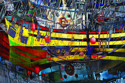 Digital Abstract Composition Of A Yellow Boat In A Harbor Poster