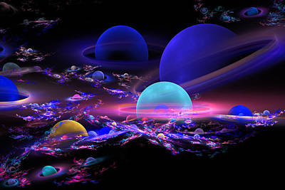 Digital Abstract Fractal Art Planet Spheres Poster by Keith Webber Jr
