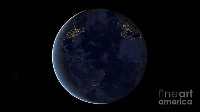 Digital Composite Of Earths City Lights Poster