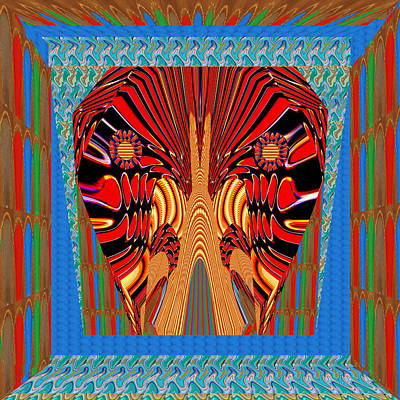 Digital Fantasy Exotic Snake Head And Jaws Framed In Beautiful  Graphic Pattern Poster