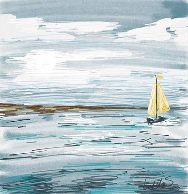 Digital Seascape In Blue Poster by Isabella F Abbie Shores FRSA