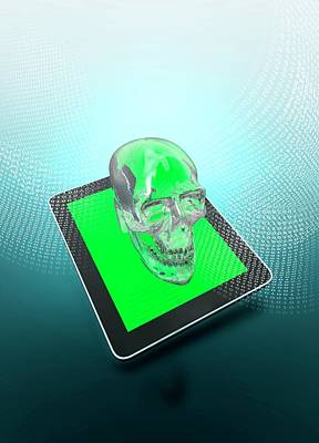 Digital Tablet With A Skull Poster by Victor Habbick Visions