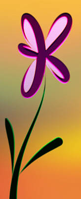 Digitally Created Dark Purple And Pink Flower Poster by Gina Lee Manley