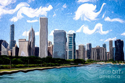 Digitial Painting Of Downtown Chicago Skyline Poster by Paul Velgos