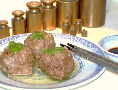 Poster featuring the photograph Dim Sum - Beef Balls by Katy Mei