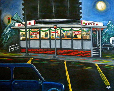 Diner In Arlington Poster by Victoria Lakes
