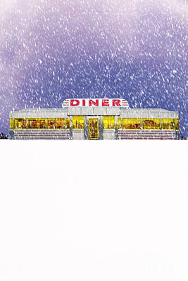 Diner In Snowstorm Poster