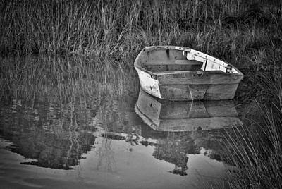 Dinghy In The Marsh Poster