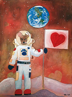 Dingo Love Conquers The Moon Poster by Yvonne Lozano