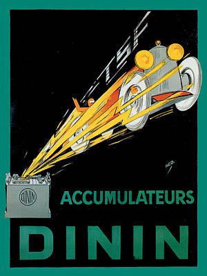 Dinin Accumulateurs Poster by Vintage Automobile Ads and Posters