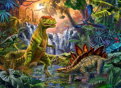 Dino Waterfall Poster