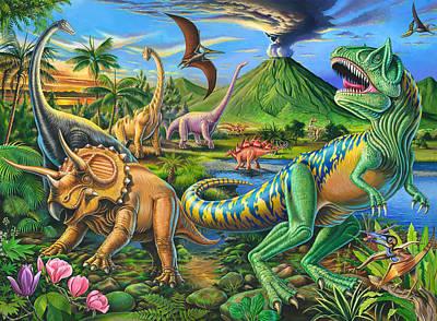 Dinosaur Scene Poster by Mark Gregory