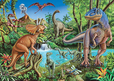 Dinosaur Waterfall Poster