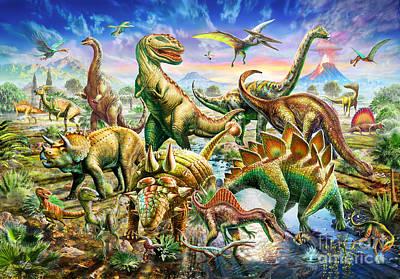 Dinoscene   Poster by Adrian Chesterman