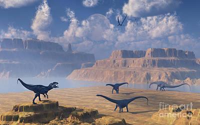 Diplodocus Dinosaurs Being Stalked Poster by Mark Stevenson