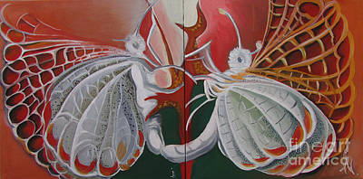 Poster featuring the painting Diptych-double Canvas by Art Ina Pavelescu