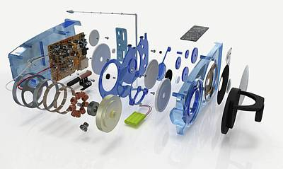 Disassembled Parts Of A Transistor Radio Poster by Dorling Kindersley/uig