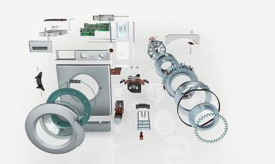 Disassembled Parts Of A Washing Machine Poster