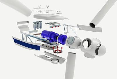 Disassembled Parts Of A Wind Turbine Poster by Dorling Kindersley/uig