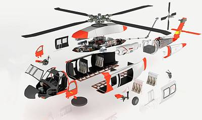 Disassembled Parts Of Military Helicopter Poster by Dorling Kindersley/uig