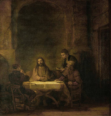 Disciples At Emmaus Poster by Rembrandt