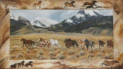 Poster featuring the painting Discovery Horses Framed by Lori Brackett