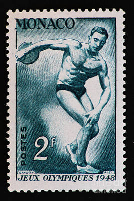 Discus Vintage Postage Stamp Print Poster
