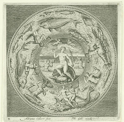 Dish With Sea Goddess Galatea Adriaen Collaert Poster by Adriaen Collaert And Philips Galle
