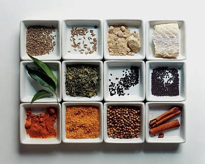 Dishes Of Spices Poster