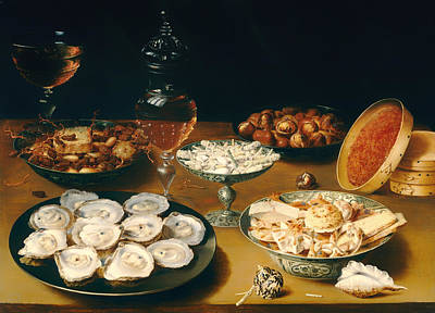 Dishes With Oysters Fruit And Wine Poster