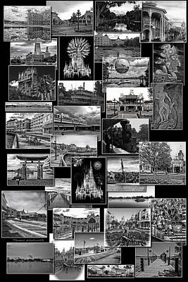 Disney World Collage In Black And White Poster