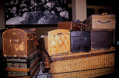 Display Of Old Trunks And Suitcases Poster
