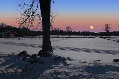 Poster featuring the photograph Distant Winter Moonrise by Larry Landolfi