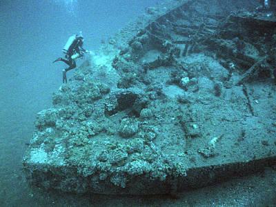 Diver At Uss Monitor Shipwreck Poster