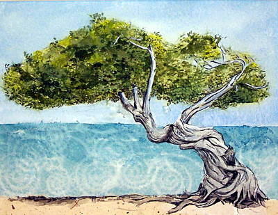Poster featuring the painting Divi Divi Tree by Lynn Babineau