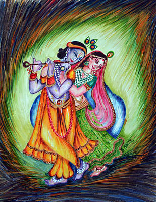 Poster featuring the painting Divine Lovers by Harsh Malik