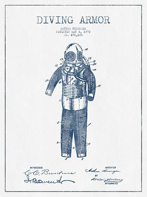 Diving Armor Patent Drawing From 1893  -  Blue Ink Poster by Aged Pixel