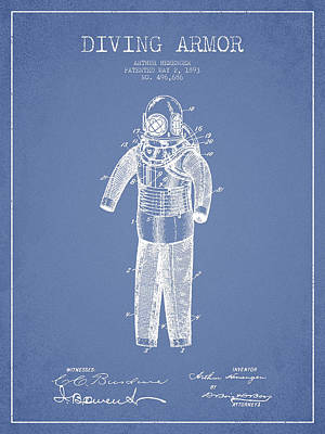 Diving Armor Patent Drawing From 1893 - Light Blue Poster by Aged Pixel