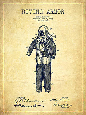 Diving Armor Patent Drawing From 1893 - Vintage Poster by Aged Pixel