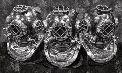 Diving Helmets B W Poster